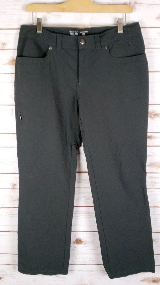 "Womens Mountain Hardwear Gray Pants 12 Outdoor Hiking Camping Nylon 31"" inseam #MountainHardwear #CasualPants"