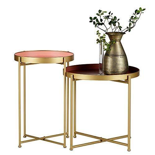 2er Beistelltisch Set Julez Tischset Anstelltisch Sofatisch Metall Messing Pink Http Www Amazon De Dp B077fs2nxd R Beistelltische Beistelltisch Metalltische