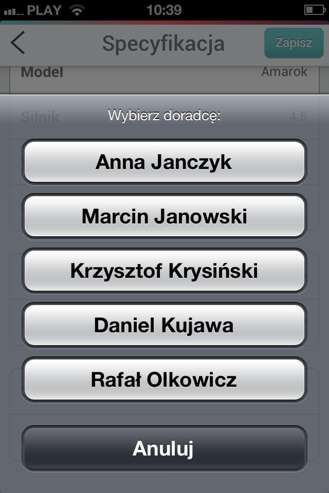 Aplikacja dla dealera Skody - Wybór doradcy.  #dealershipapps #mobileapps #aplikacjewebowe