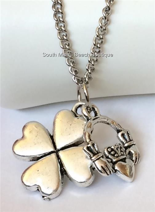 Silver Claddagh Shamrock Necklace Pendant Irish Celtic 20 in Stainless Steel USA #SouthMiamiBeachBoutique #Pendant