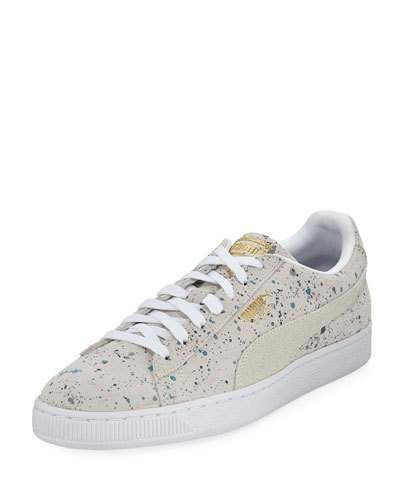 Puma Men's Classic Paint-Splatter Suede Low-Top Sneaker
