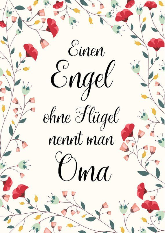 Kunstdruck Geschenk Oma A4 Ungerahmt Spruche Poster Einen Engel