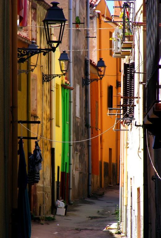Streetscene in Bosa, Sardinia, Italy.