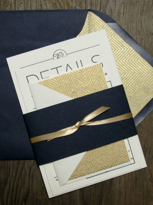 Navy + Gold Chevron & Arrow Wedding Invitation Suite on Tiffany Lane Handmade