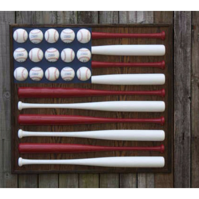 Patriotic Red White And Blue Baseball Bat Ball American Flag Hanging Wood Wall Decor