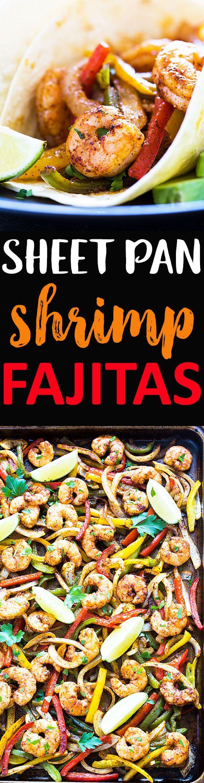 Sheet Pan Shrimp Fajitas - An easy, no-fuss shrimp fajita recipe with minimal cleanup. Everything's prepared in one pan!