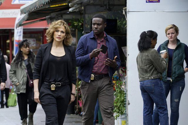 Still of Jennifer Lopez and Dayo Okeniyi [Raised in Lagos Nigeria, Dayo Okeniyi (Pronounced: Die-o Okay-ni-yii)] as Michael Loman in Shades of Blue (2016)