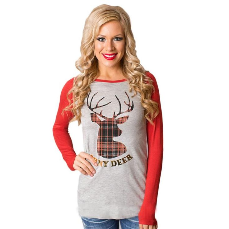 Christmas Autumn Round Collar Long Sleeve Cotton T-Shirt //Price: $0.00 & FREE Shipping //     #ootd #work #sweet #sun #morning