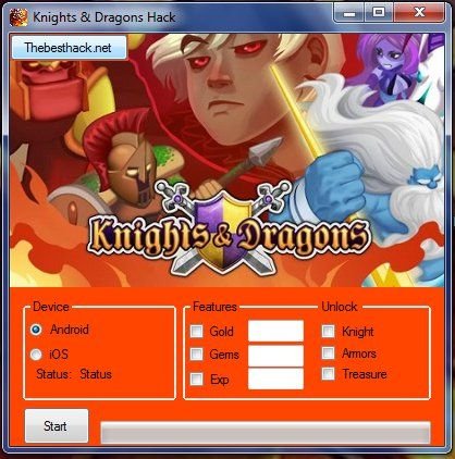 Hi. Thebesthack.net Present amazing hack to the best game in your mobilephone: Knights & Dragons. Now you can get free experience, diamonds and gold. They will also be available to you armors, knight and treasure.