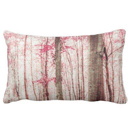 Pink and Brown Fantasy Forest Lumbar Pillow -nature diy customize sprecial design
