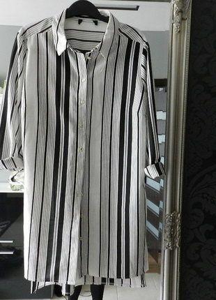 Kup mój przedmiot na #vintedpl http://www.vinted.pl/damska-odziez/koszule/14381076-new-look-bialo-czarna-tunika-koszula-w-pasy-sm