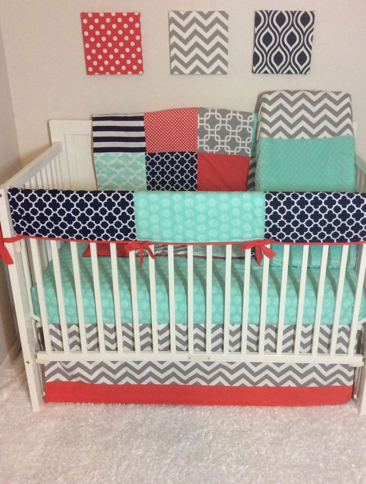 Baby Girl Crib Bedding Set in Coral Navy Mint and Gray Bumperless by butterbeansboutique on Etsy https://www.etsy.com/listing/168401244/baby-girl-crib-bedding-set-in-coral-navy