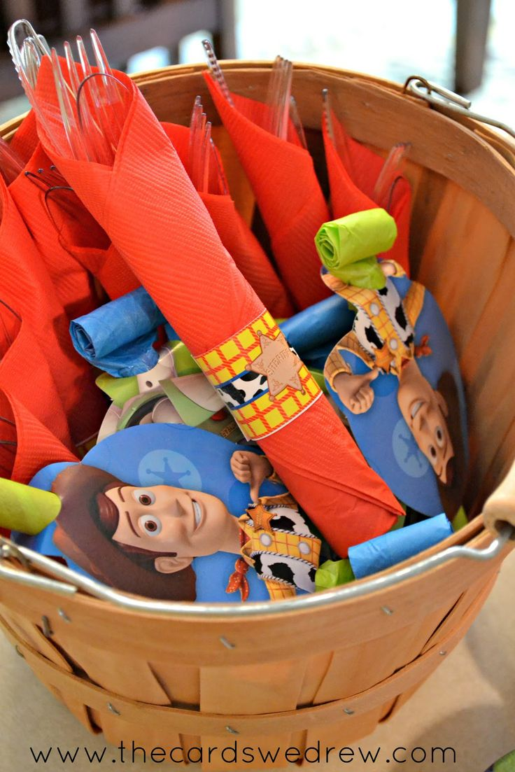 Toy Story Birthday Party-silverware ideas. You could also buy toy story wrapping paper and wrap that around the silverware.
