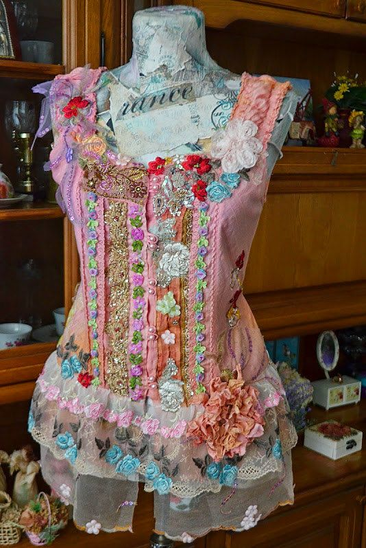 Romantic,Bohemian,Upcycled Tunic , altered couture , embellished vintage lagenlook cotton wearable art redesign top Flowers Parfume