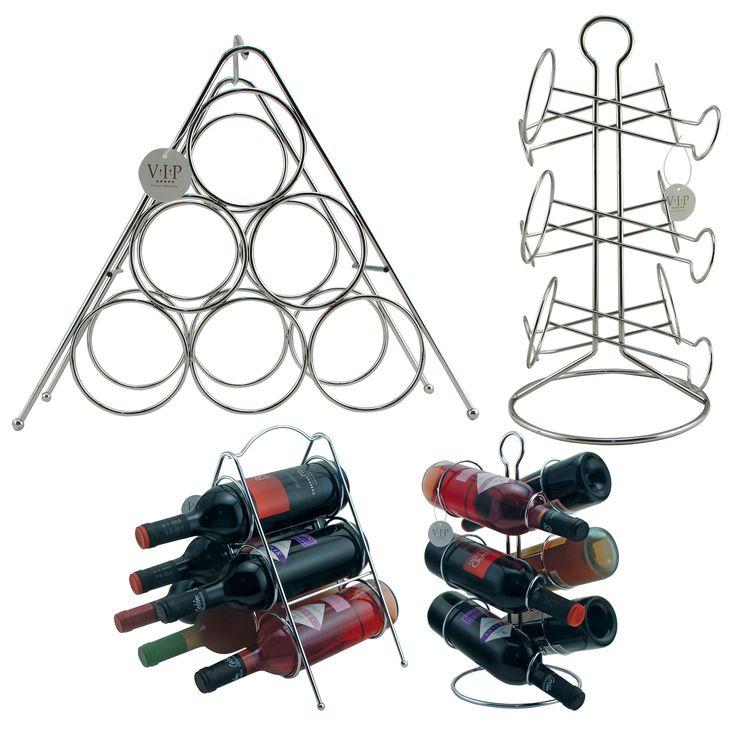 Tabletop and Shelf-style Chrome-finish Metal Wine Racks (Set of Two)