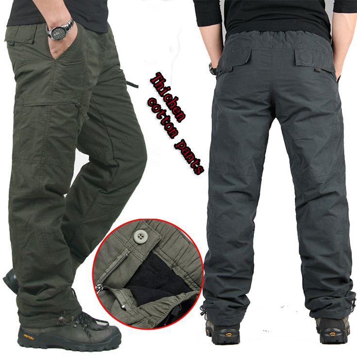 OONU NEUE Winter Doppelschicht Dicke männer Cargohose Warm Baggy Hosen Baumwolle Hosen Für Männer Männliche Militärische Camouflage taktische