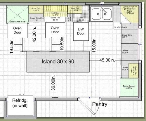 kitchen layouts with island 10k kitchen remodel island design traffic work triangle - Kitchen Layout Design Ideas