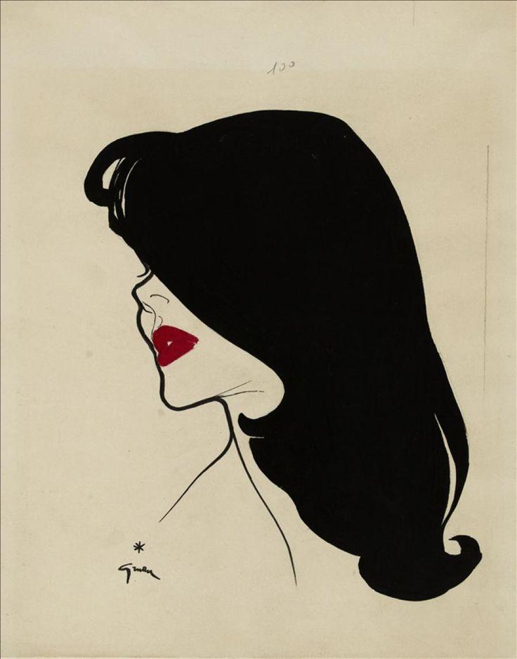 Projet pour le 'Rouge Baiser', René Gruau 1949-1950 © Galliera / Roger-Viollet