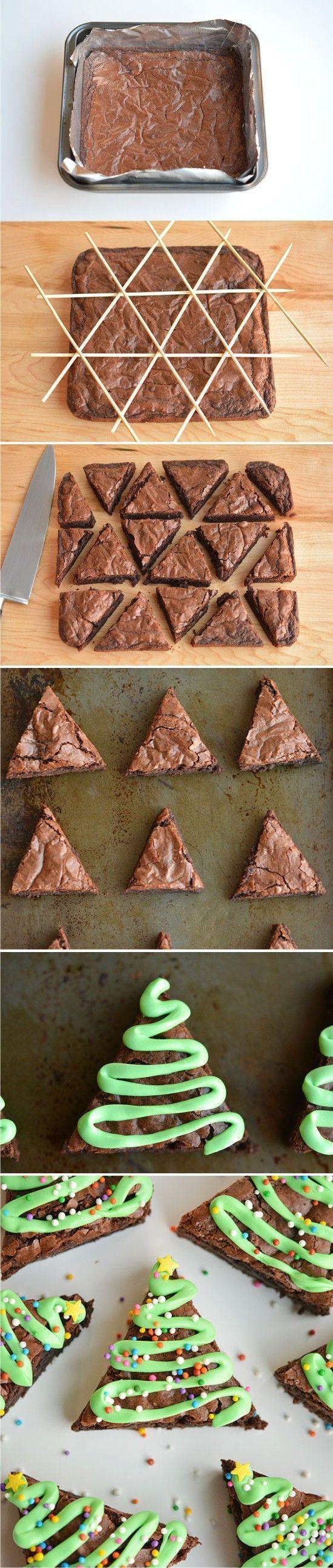Easy Christmas Tree Brownies - brownies, chocolate, christmas, dessert, recipes