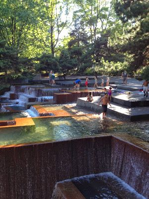 Keller Fountain in downtown Portland - you can play in it!