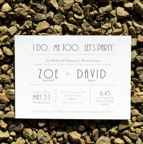 Wording and style, I found this really awesome Etsy listing at https://www.etsy.com/listing/123527353/wedding-invitations-modern-typography