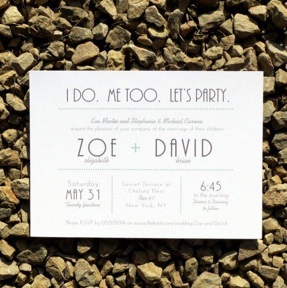Wedding Invitations Modern Typography Wedding - Brooklyn Deposit on Etsy, €37,82