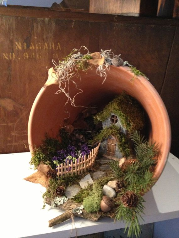 Handmade terra cotta pot fairy cottage by Abizarrebazaar on Etsy, $55.00 Got a BIG clay/clay-like pot? Grab some moss or creeping thyme and make your own Fairy Tumble Garden.