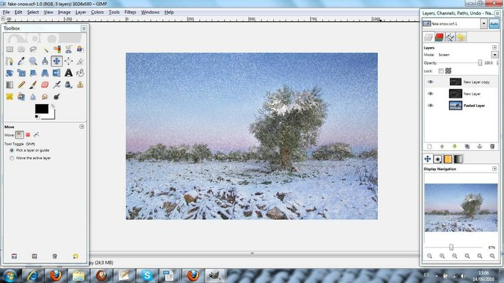 Tutorial to Add Fake Snow to a Photo in GIMP
