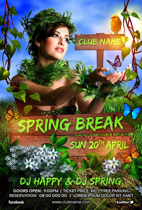 Best Spring Break Party Flyer Templates Images On