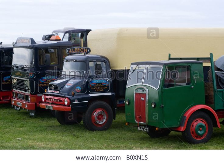 ERF E10 Tractor Unit with 1965 Ford Thames Trader and 1949 Dennis Pax Trucks at Smallwood Vintage Rally Cheshire England UK Stock Photo