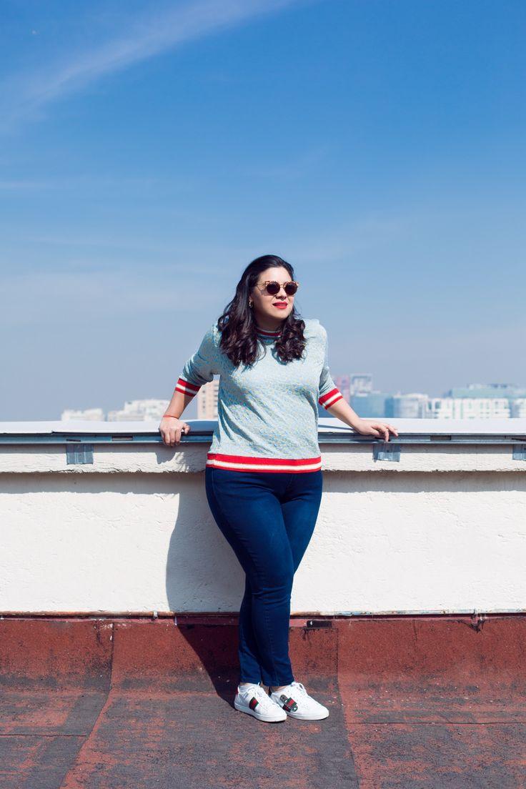 Chill ✌🏼 suéter azul de HM y jeans de City Chic.