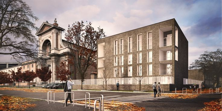 OPERASTUDIO - Project - CityLIfe Police Station - View #render #black #bricks #white #steel #fence