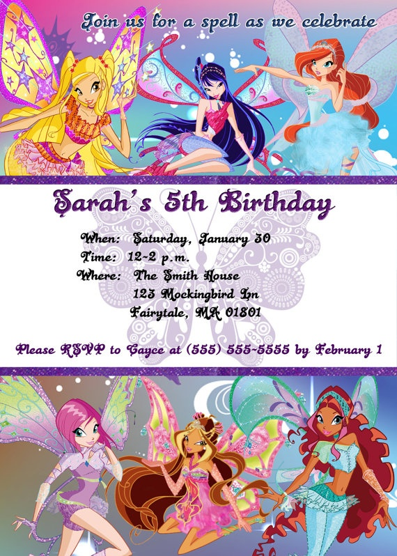 Winx Club Birthday Invitation by projectdeployment on Etsy, $8.00