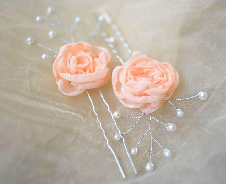 Peach Orange Flower hair pins Bridal Hair Piece flower white pearls Pin rhinestone hair pins pearl hair pins bridesmaid hair pins…