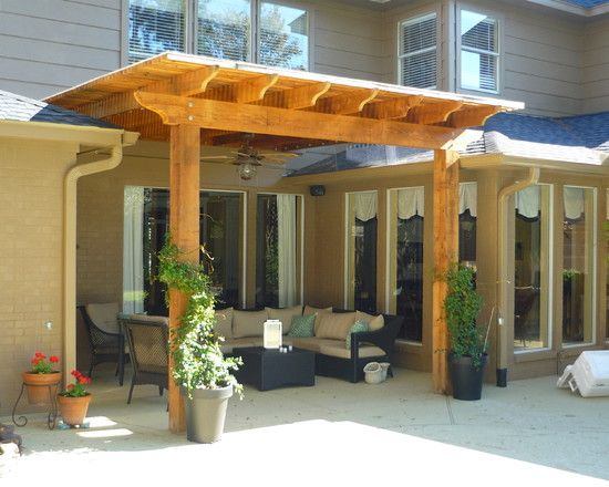 Pergola attached to a covered patio patio covered for Balcony roof ideas