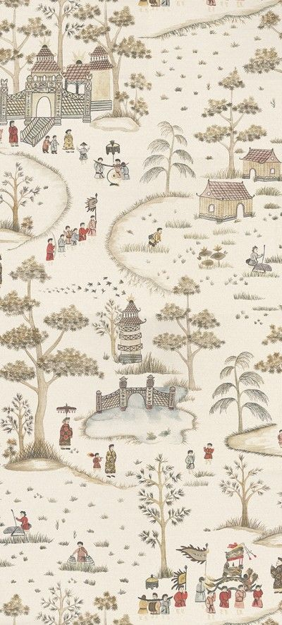 Cathay Parade Chocolate, Gold and Red (NCW4180-02) - Nina Campbell Wallpapers - This elegant, digitally printed wallpaper shows an ancient Chinese festival in a grand style. Produced on a wide width roll, various costumed figures parade up a tree-lined path to a stylised pagoda. Shown here in the chocolate, gold and red colourway. Other colourways are available. Please request a sample for a true colour match. Wide width product. Pattern repeat is 150cm. Paste-the-wall product.