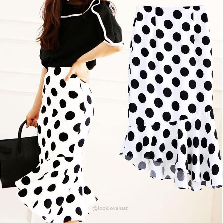 Fishtail Polka Dot High Waist Skirt  -  Skirts  -  Look Love Lust  https://www.looklovelust.com/products/fishtail-polka-dot-high-waist-skirt