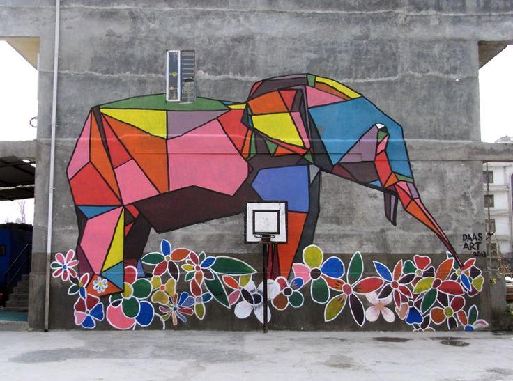 elephant mural at shikshantar school in kathmandu nepal by daas graphic pinterest school. Black Bedroom Furniture Sets. Home Design Ideas