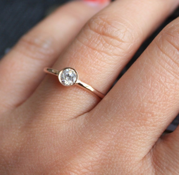 Simple Solitaire Diamond Engagement Ring in 14K Rose by Studio1040, $850.00