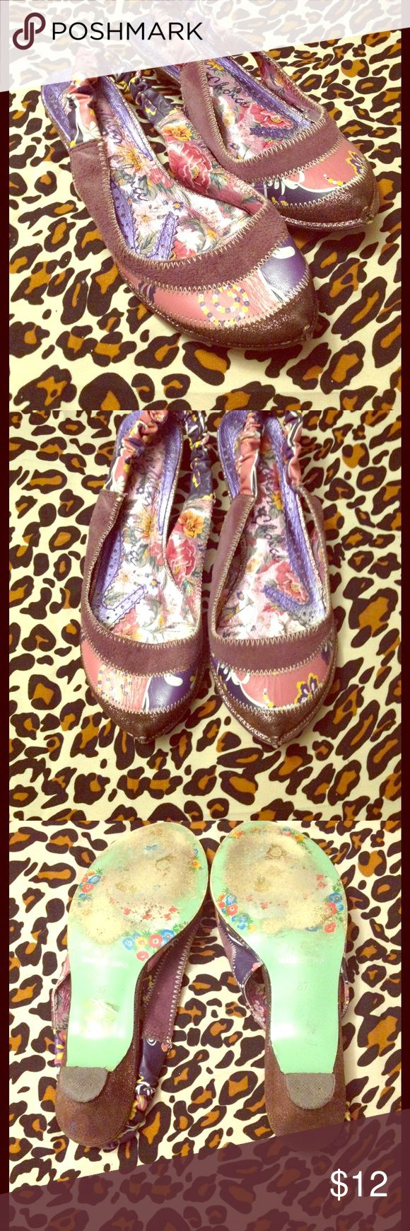 Irregular Choice Slingback Kitten Heels Size 7 Really awesome used condition - the only visible wear is on the soles! Leather & suede patchwork. EU size 37/ USA Size 7 Irregular Choice Shoes Heels