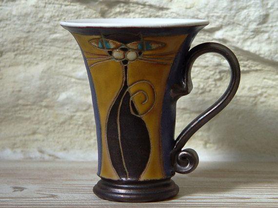 Kat mok keramische koffiemok Tea Cup wiel gegooid door DankoHandmade