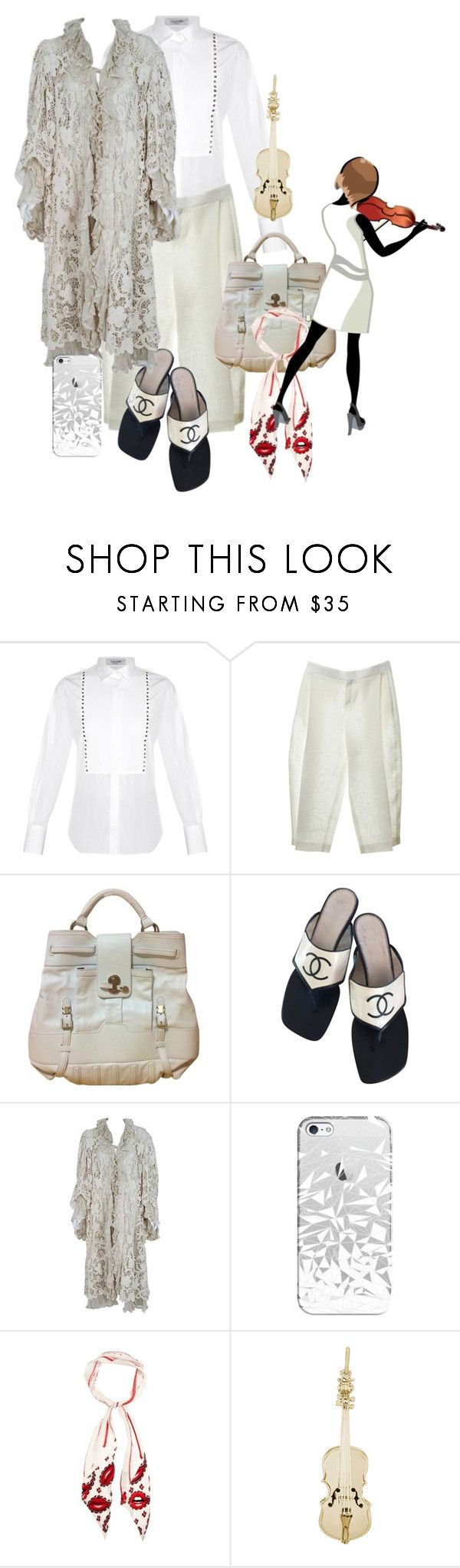 """broken white"" by aries-indonesia ❤ liked on Polyvore featuring Valentino, Chloé, Versace, Chanel, Casetify, Rockins and Rembrandt Charms"
