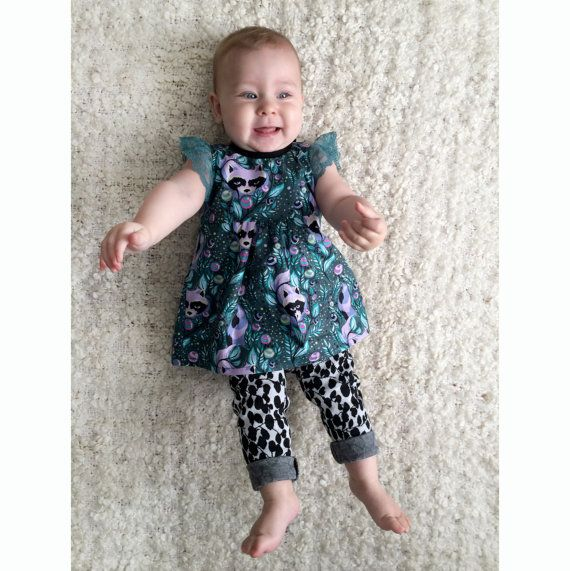 raccoon print baby toddler tunic with lace sleeves by supayana