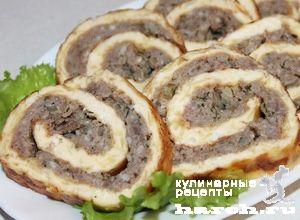 Яично сырный рулет с куриным фаршем, headline zakuski goryachie myasnye zakuski goryachie zakuski