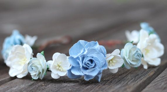 Light Blue and Ivory Flower Crown Blue by weddingflowercrown