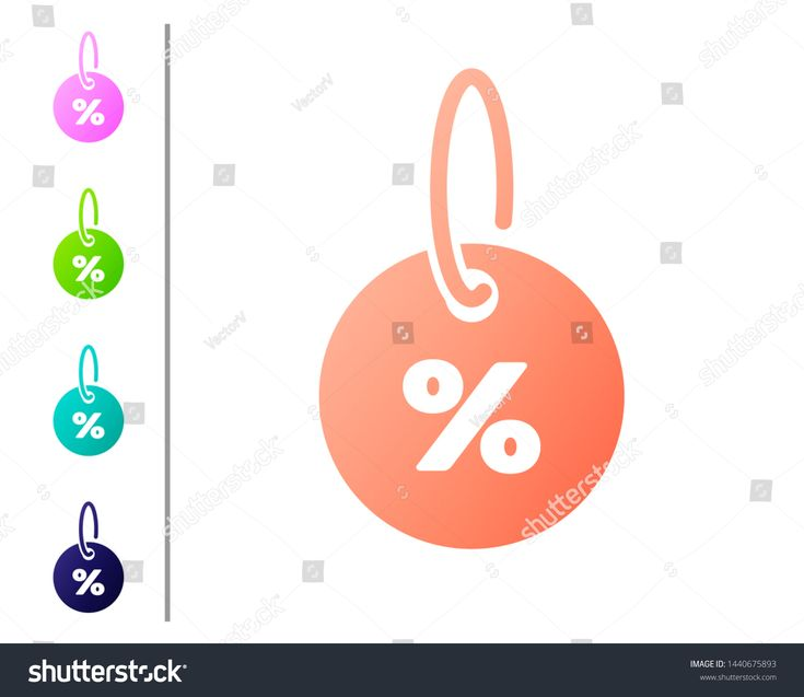 Coral Discount percent tag icon isolated on white ...