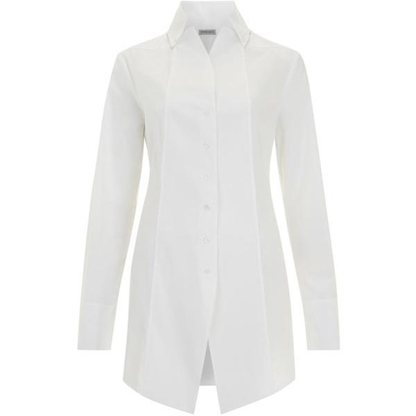 Annette Gortz White Long Sleeved Seamed Cotton Shirt ($370) ❤ liked on Polyvore