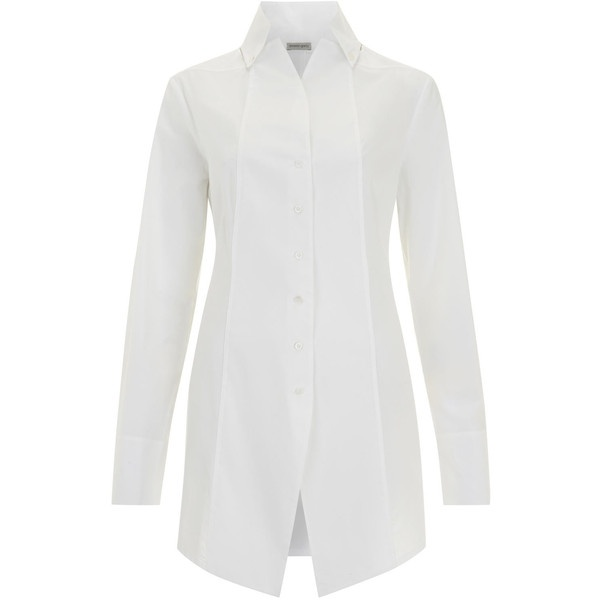 Annette Gortz White Long Sleeved Seamed Cotton Shirt ($370) ❤ liked on Polyvore