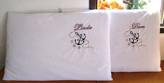 Anchor Pillow Case  Personalized Pillows Nautical Gift Wedding Gift Marine Gift Nautical Decor Nautical Bedding Beach House Decor Boat Decor by NauticalDream on Etsy https://www.etsy.com/listing/180624123/anchor-pillow-case-personalized-pillows