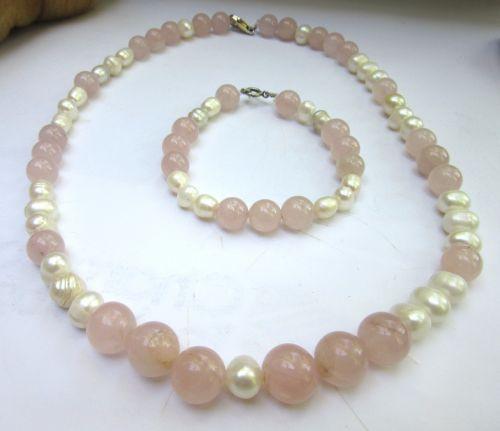 perle naturale cuart roz argint set colier si bratara